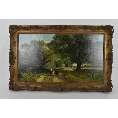 108 - Frederick William Hulme (1816-1884) British 'A Lane in Ockham', depicting a rural scene with a mothe...