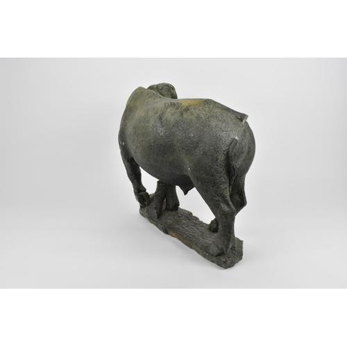 144 - Taurai Maisiri (b. 1959), Zimbabwe a contemporary shona stone sculpture of a water buffalo, realisti...