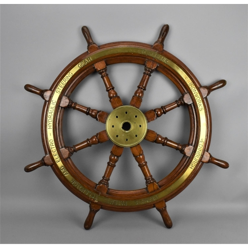 154 - A 19th century brass mounted teak ship wheel by Brown's Rosebank Ironworks, Edinburgh, 84 cm diamete...