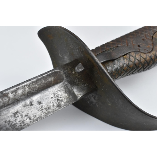 160 - A 19th century British Victorian cavalry trooper's sword, 1885 pattern, with chequered leather grip,...