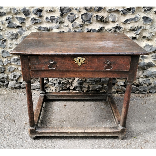 188 - A William and Mary oak side table, of rectangular form with single front drawer mounted with pierced...