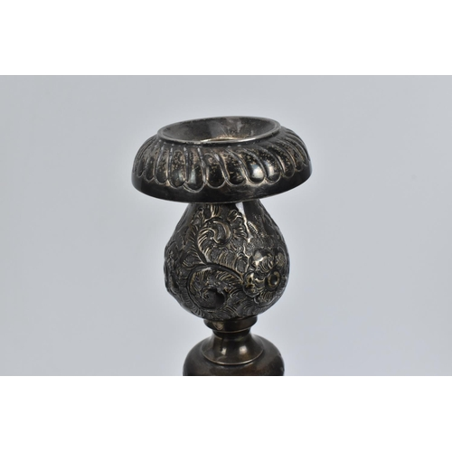 201 - A pair of early 20th century silver shabbat candlesticks by J. Zeving, 1913,  foliate scroll decorat...