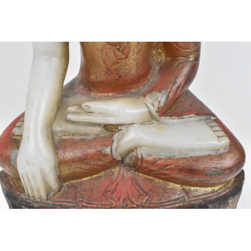8 - A large Burmese alabaster sculpture of Buddha Shakyamuni, 18th/19th century, in dhyana asana pose, w...