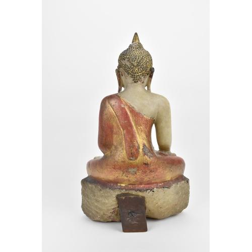 8 - A large Burmese alabaster sculpture of Buddha Shakyamuni, 18th/19th century, in dhyana asana pose, w...