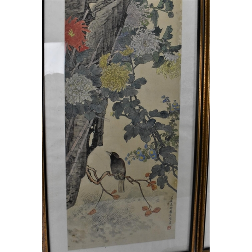 73 - Three framed Chinese watercolour paintings on silk, each depicting birds on blossoming branches, wit...