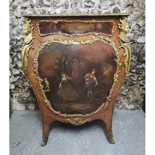 113 - A French late 19th century ormolu mounted Kingwood and Vernis Martin side cabinet, in the Louis XV s...