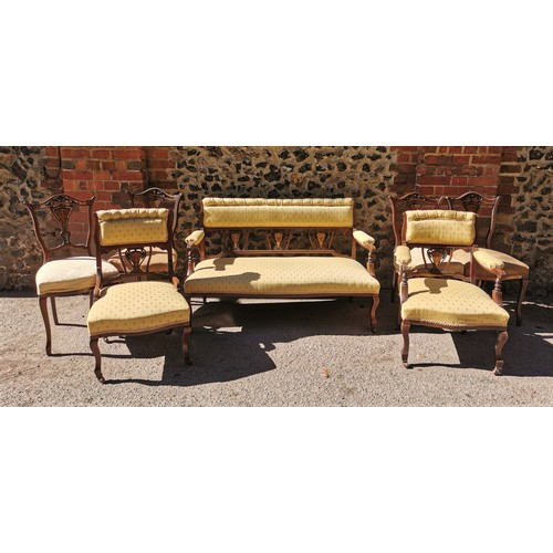 157 - An Edwardian eight piece parlour suite, comprising a sofa, one armchair, and six chairs, all upholst...