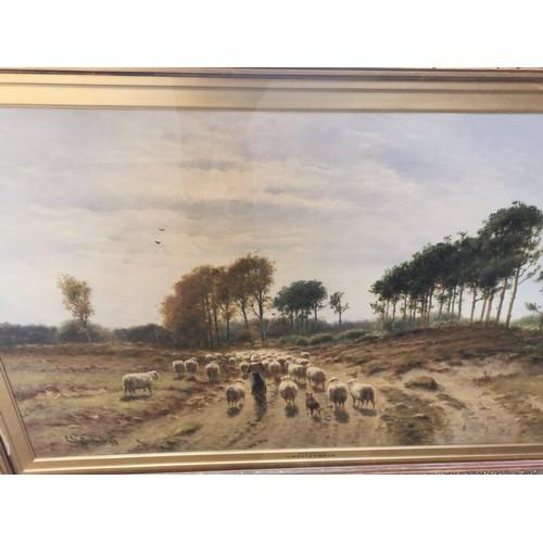 130 - Cornelis Westerbeek (1844-1903) Dutch 'Dutch pastures' depicting a shepherdess and her flock of shee...