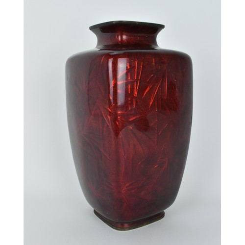79 - A large Japanese akasuke ginbari cloisonne enamel vase, attributed to Kemeno Teitaro, designed with ...