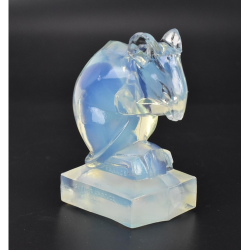 18 - An Art Deco Sabino opalescent glass 'Souris' mouse car mascot, in the cubist style, with moulded SAB...