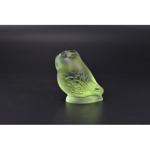 21 - A René Lalique frosted and clear lime green 'nyctal owl' paperweight, with etched 'Lalique R France'...