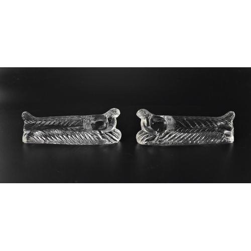 24 - Three Sabino opalescent glass knife holders, comprising a model of a dog, a snail and a rooster, all...