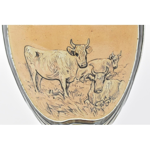 1 - A Doulton Lambeth stoneware vase by Hannah Barlow, designed with sgraffito decorations of grazing ca...