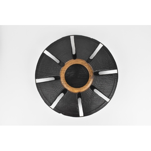 11 - Mike Scott 'Chai' (b.1943) British a scorched oak vessel, of circular form with central unstained ri...
