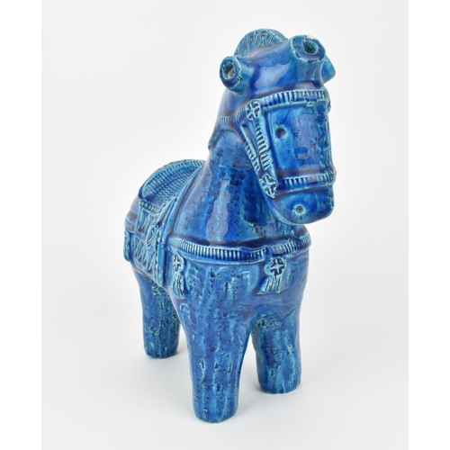 2 - An Italian Bitossi rimini blue glazed pottery model of a horse, with incised decoration, the undersi...