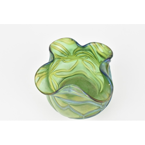 3 - A Loetz style iridescent green glass vase, of bulbous form with spotted papillon pattern throughout,...