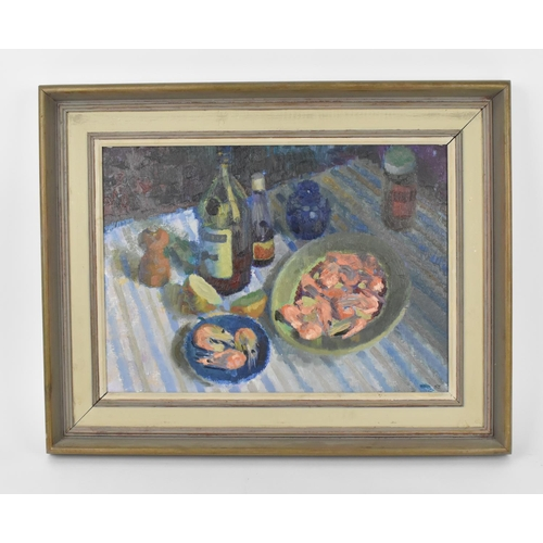 34 - Louis Arthur Ward (1913-2005) British, RWA 'Still life with prawns', signed and dated 52 lower right...