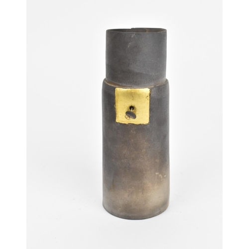 37 - A smoke-fired ceramic presentation dish and vase by Joy Bosworth, the rectangular dish with folded s...