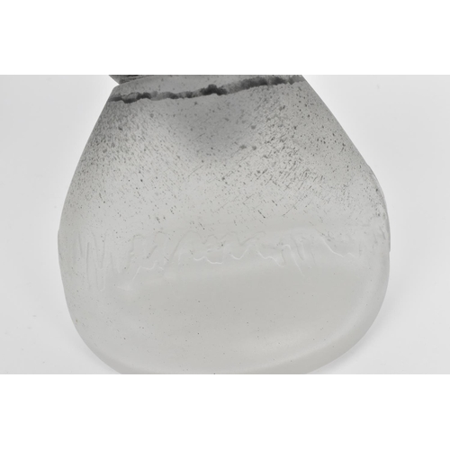 43 - A British studio glass decorative piece, in two parts with main frosted glass body designed with fol...