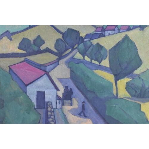 46 - Stanislawa de Karlowska (1876-1952) Polish 'A road in the Black Down Hills', signed lower right, oil...