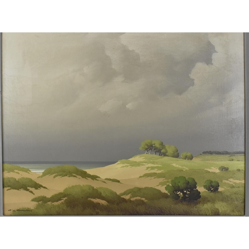 59 - Pierre de Clausade (1910-1976) French depicting a French coastal scene, signed lower left, oil on ca...