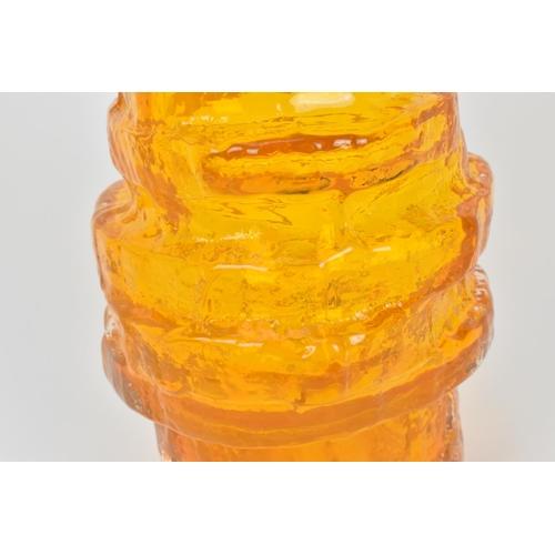 7 - A Whitefriars willow hoop vase in tangerine designed by Geoffrey Baxter, pattern number 9680,  29 cm...