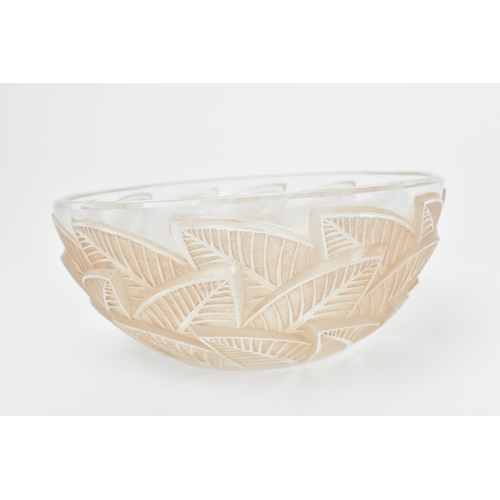 8 - A Rene Lalique frosted and clear pink tinted bowl in the 'Ormeaux' pattern, the underside stencilled...