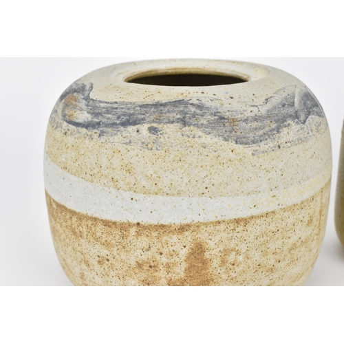 12 - Judith Gilmour (b.1937) British Three stoneware studio pottery lidded jars, of various sizes, all wi...