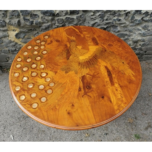 35 - An Italian mid century inlaid marquetry and mother of pearl tilt top occasional table, the circular ...