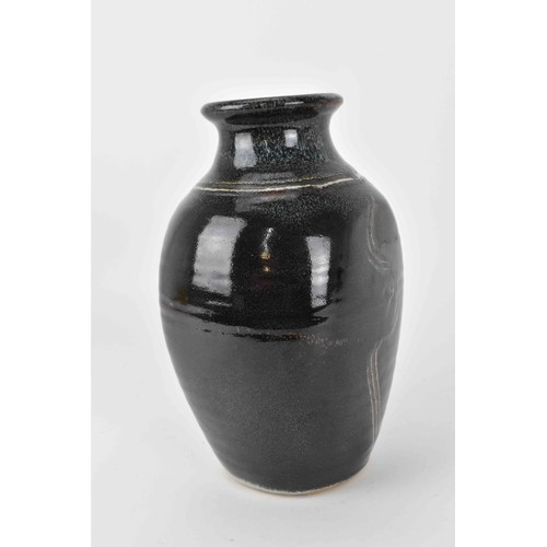 36 - Eddie Hopkins (1941-2007) for Winchcombe Pottery, a stoneware ovoid shaped vase with dark mottled gl...