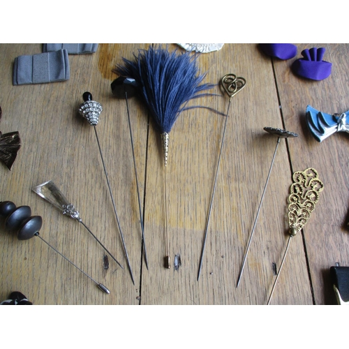 15 - Early 20th century hat pins, shoe buckles and shoe heels and other items Location: Porters...