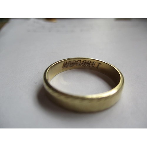 19 - A 14ct gold wedding band stamped 585, 3.6g, together with an 18ct gold wedding band, 4.5g Location: ...