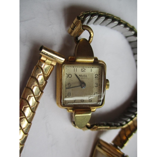 23 - A vintage Bifora ladies cocktail watch with gold coloured open chain strap together with a Sonic sta...
