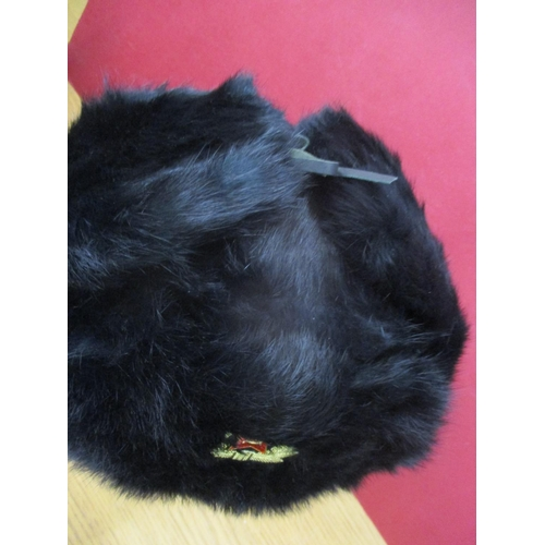 29 - A modern Russian black rabbit fur hat with Russian emblem to the front, size large (display head not...
