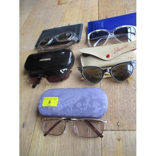 8 - Designer sunglasses comprising retro Ted Lapidus ladies white oversized shades, Jack Nicklaus Golden...