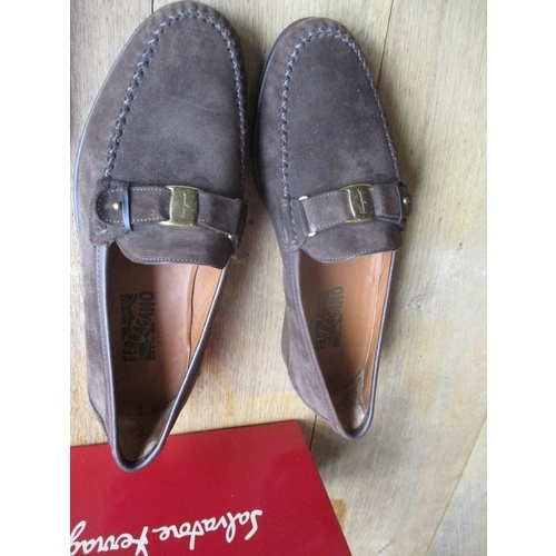 7 - A pair of Salvatore Ferragamo gents dark brown suede and leather brogues with gold tone branded hard...