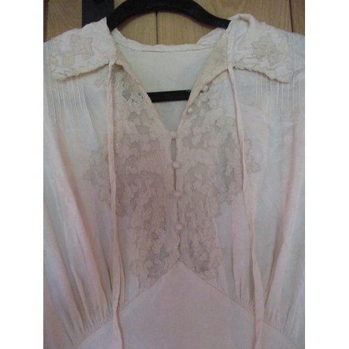 43 - Early to mid 20th century nightwear and an early 20th century cream silk and lace wedding gown Locat...