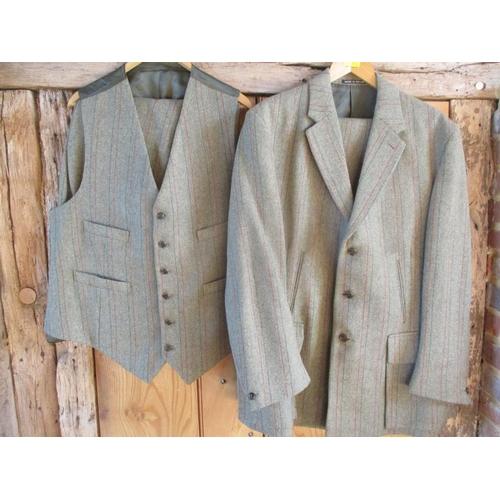 44 - A John Brocklehurst bespoke Derby Tweed four piece Country Pursuit ensemble comprising a waistcoat a...