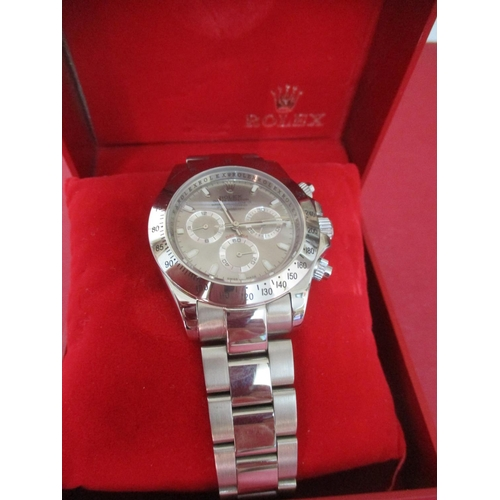 42 - A modern gents stainless steel wristwatch and matching watch box Location: Porter