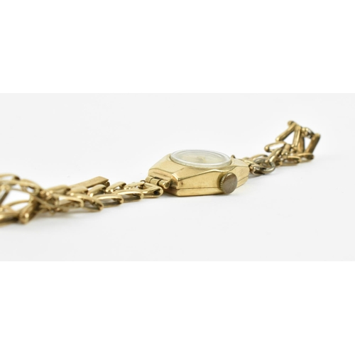 14 - A 9ct gold Audax ladies wristwatch on a 9ct gold bracelet with clasp, 13g