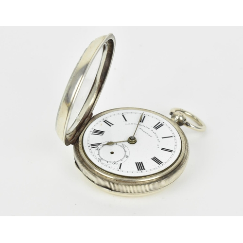 30 - A late Victorian open faced silver cased, key winding pocket watch with a white enamel dial, having ...