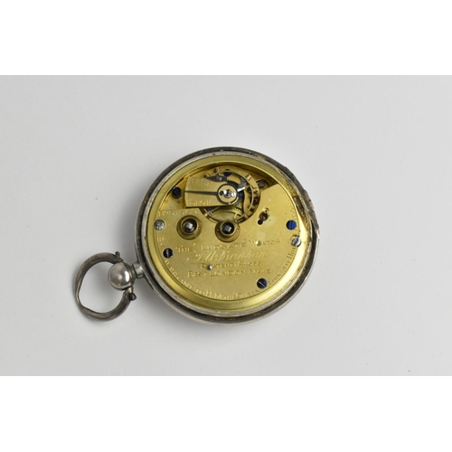 40 - A late Victorian open faced, key wound JW Benson watch, with a white enamel dial having Roman numera...