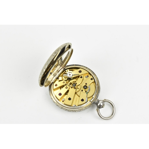 44 - A late 19th/early 20th century ladies silver cased, key wound pocket watch with decorative dial havi...