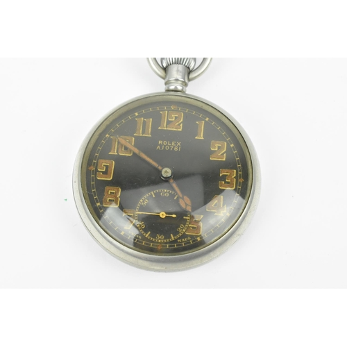 5 - A WWII era Rolex, open faced, manual pocket watch with black dial stamped A10781, together with an E...
