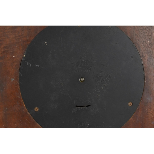 56 - A mahogany cased Art Deco Zenith 18 day circular convex, wall hanging wall clock. having a centre wi...