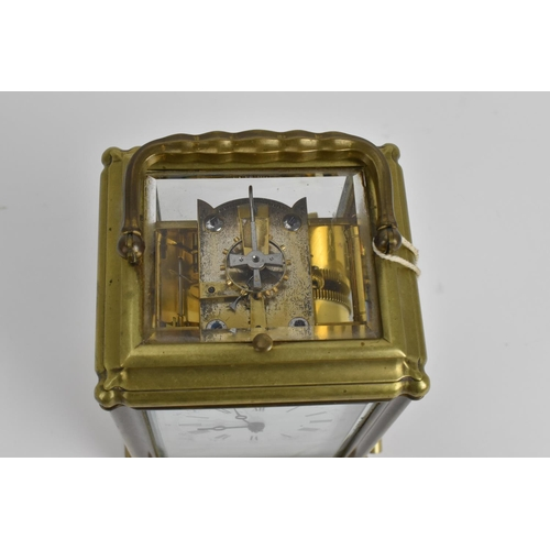 7 - A late 19th/early 20th century striking/repeating carriage clock in a gorge case with an English rat...