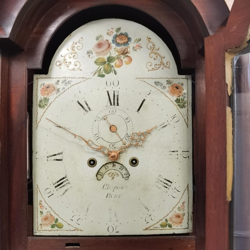 59 - A George III mahogany cased longcase clock, the arched top dial having floral decoration, date apert...