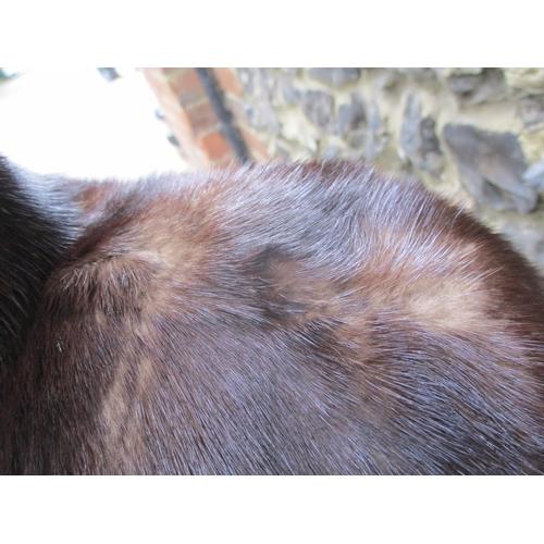 5 - A vintage full length brown mink coat having a shawl collar, 38/40