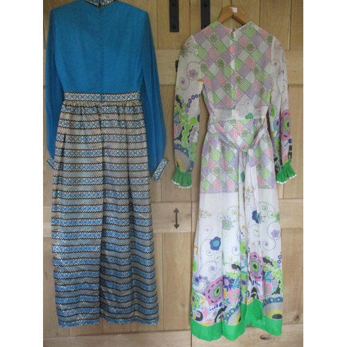 36 - A 1970's Flower Power full length sheer cotton ladies dress having a lime green partial waistband, c...