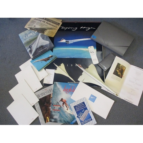 20 - Concorde memorabilia to include a signed 1989 calendar (Captain Brian Walpole signature), Concorde f...